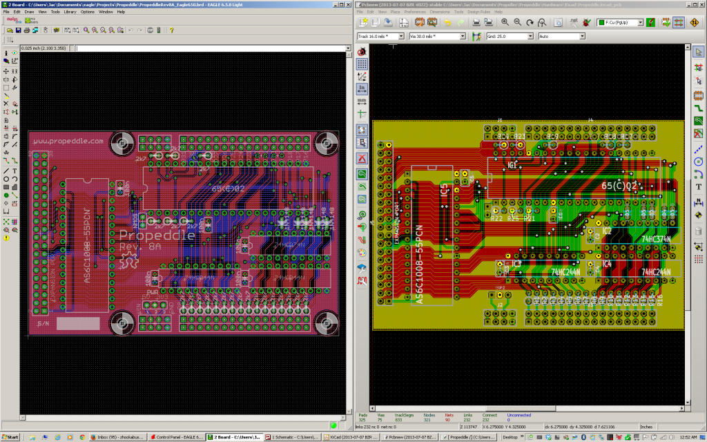 Propeddle PCB design in Eagle vs. Kicad